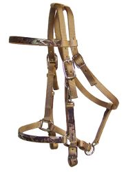 Realtree Trail Bridle, No Bit or Reins, Nickle Plate Hardware