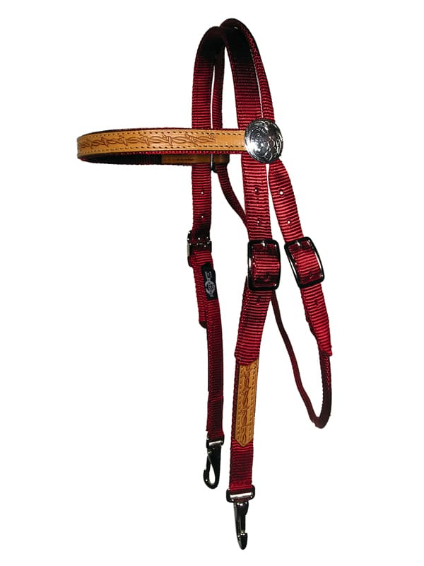 Browband, headstall, leather overlay, nylon, Triple E Manufacturing, Browband Headstall w/ Leather Overlay & Snap Ends