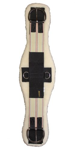 Triple E Manufacturing Contoured Poly Web Cinch w/ Double End Elastic & Removable Soft Lambs Wool Pad, Stainless Steel Flat Buckles