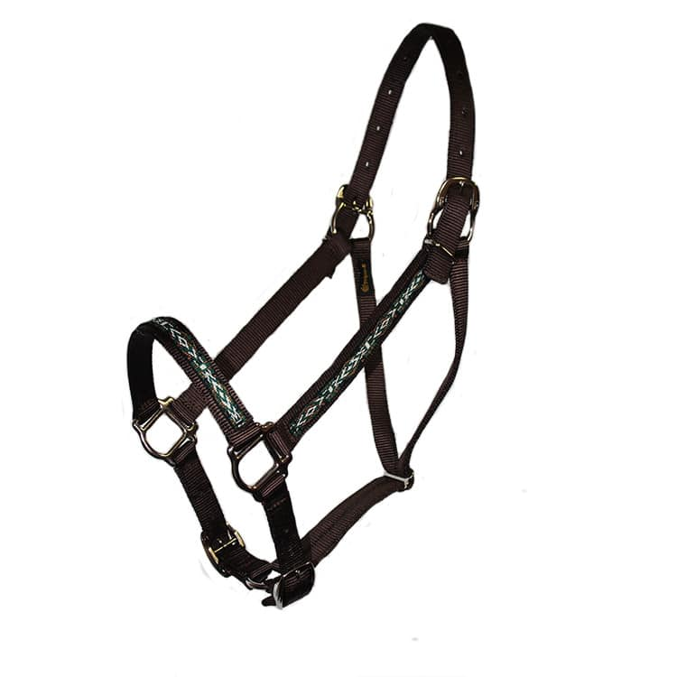 Parker Overlay Adjustable Halter, squares, snap, nylon, Triple E Manufacturing